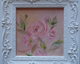 Bella Petite - oil, painting, rose, flower, still life, pink, painting, original, nature, botanical, beauty, small framed