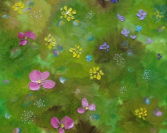 Oil painting abstract landscape flowers green meadow floral wildflowers impressionistic nature original field decor art 12x12 - Wildflowers