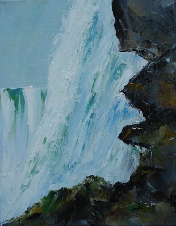 Oil painting original art Behind Niagara Falls 11x14 inch by Judith Rhue