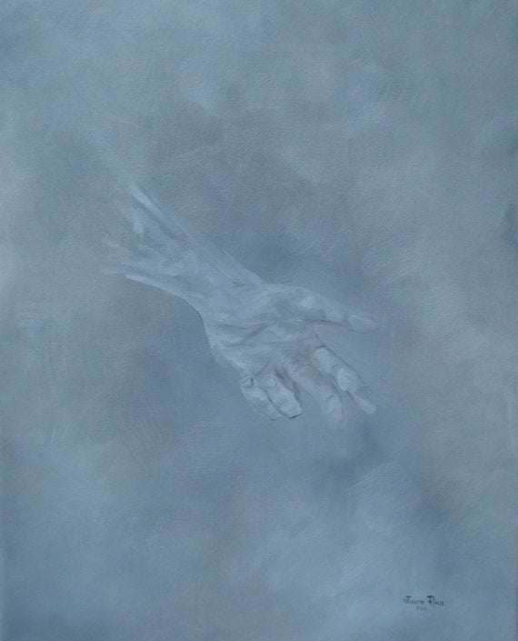 Return to Dust - original oil painting, hand, figure painting, original painting, fine art, 16x20