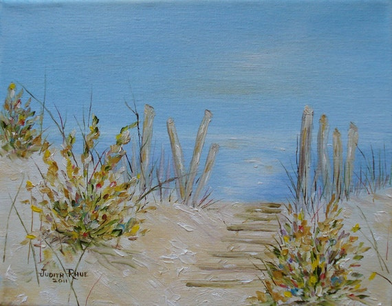 Beach oil painting landscape LBI Peace 8x10 inch by Judith Rhue