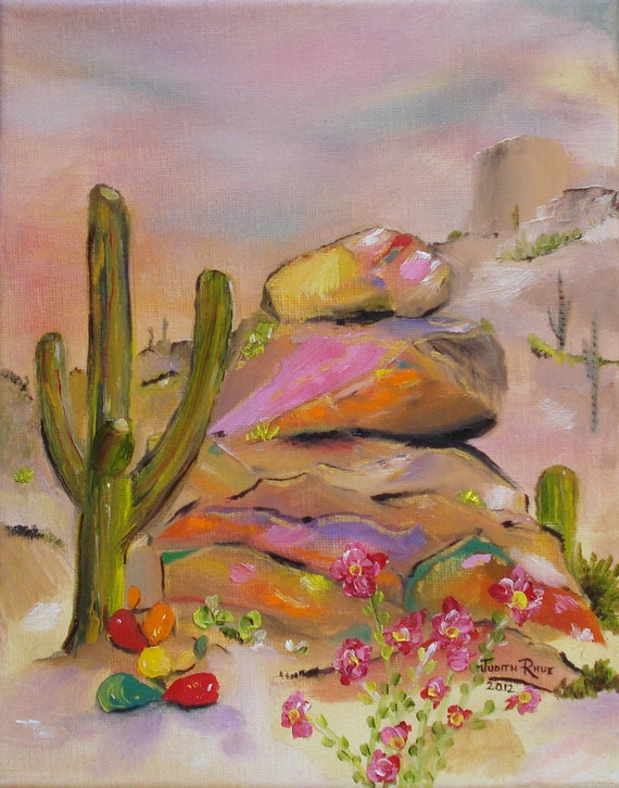 Catcus painting Southwestern oil painting landscape art Gold-Lined Rocks 8x10 inch by Judith Rhue