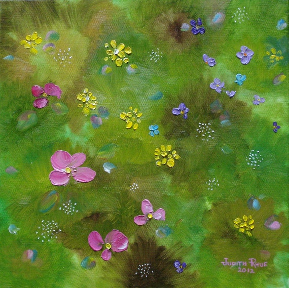 Wildflower Support - abstract, landscape oil painting, flowers, meadow, floral, whimsy, impressionistic, nature, original, field, 12x12