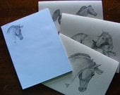Horse lover stationery gift pack - equine pencil drawings - 6 cards and one note pad