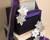 Purple and Silver Wedding Card Box Gift Card Box Money Box  Holder--Purple and Silver or Customize your color