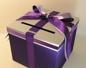Purple,Silver and Lavender Wedding  Card Box Gift Card Box  Money Box Holder-Customize your color