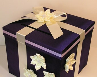 Wedding Card Box Purple and Ivory Gift Box Money Card Box Holder-Customize your color
