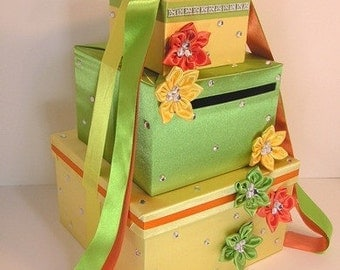 Wedding Card Box Yellow,Lime Green and Orange Gift Card Box Money Box  Holder--Customize in your color-Custom order.