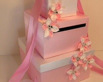 Wedding Card Box Light Pink and White  Gift Card Box Money Box  Holder--Customize your color