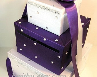Wedding Card Box White and Purple Gift Card Box Money Box  Holder--Customize your color