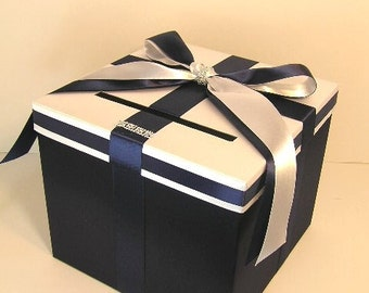 Wedding Card Box Navy blue and White Gift Card Box Money Box Holder--Customize your color (10x10x9)