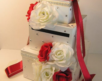 Wedding Card Box White and Red/Scarlet Gift Card Box  Money Box Holder-Special Custom order.Customize your color