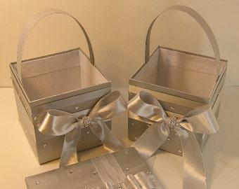 Wedding Flower Girl Basket Silver -Customize