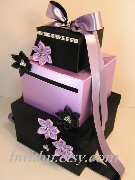 Wedding Card Box Black And Lavender Gift Card Box Money Box