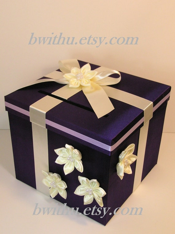Wedding Card Box Purple and Ivory Gift Box Money Card Box Holder ...