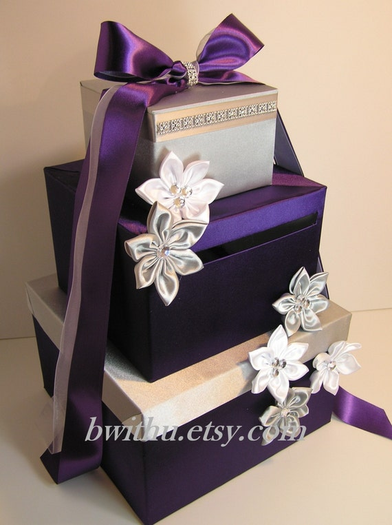 Purple and silver wedding card box gift by