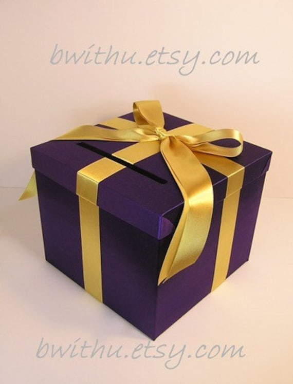 Purple ans Gold Wedding Card Box Gift Card Box  Money Box Holder-Customize/made to order (10x10x9)