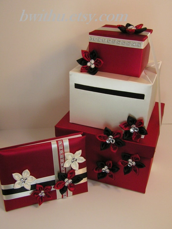 Black And White Wedding Gift Card Box : Red/Black and White Wedding Card Box Gift Card Box Money Box Holder ...