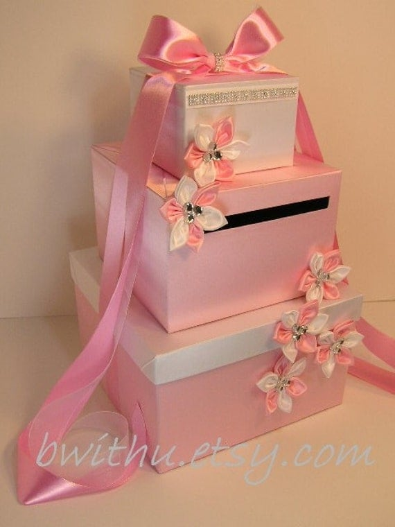 Wedding card box light pink and white gift card box money box for Table o present libramont