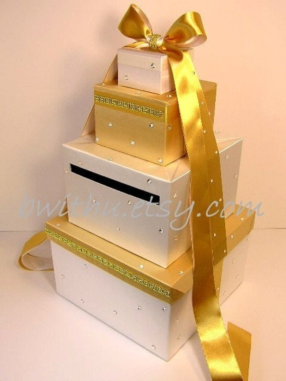 Wedding Gift Card Box Gold : Gold and White Wedding Card Box Gift Card Box Money Box Holder ...
