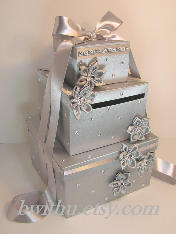 Wedding Gift Card Box Uk : Silver Wedding Card Box Gift Card Box Money Box Holder--Customize in ...