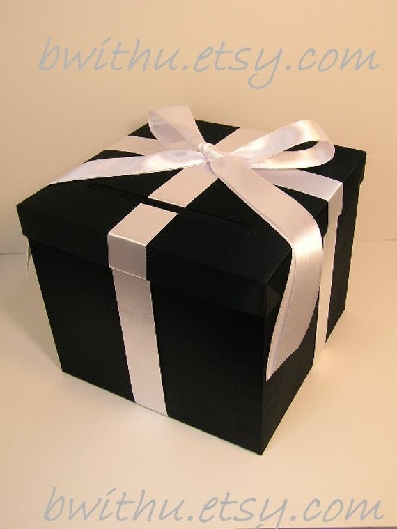 Wedding Gift Box Etsy : Black and White Wedding Card Box Gift Card Box Money Box Holder ...