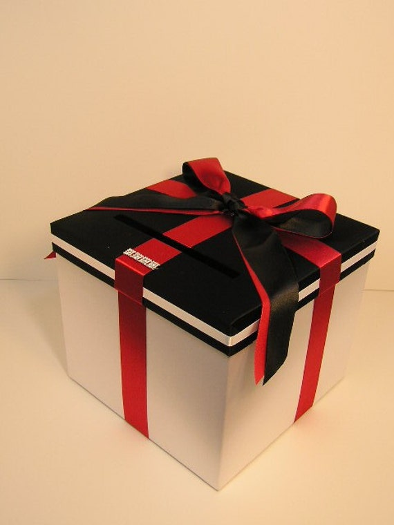 Black And White Wedding Gift Card Box : Black n White Wedding Card Box Gift Card Box Money Box Holder ...