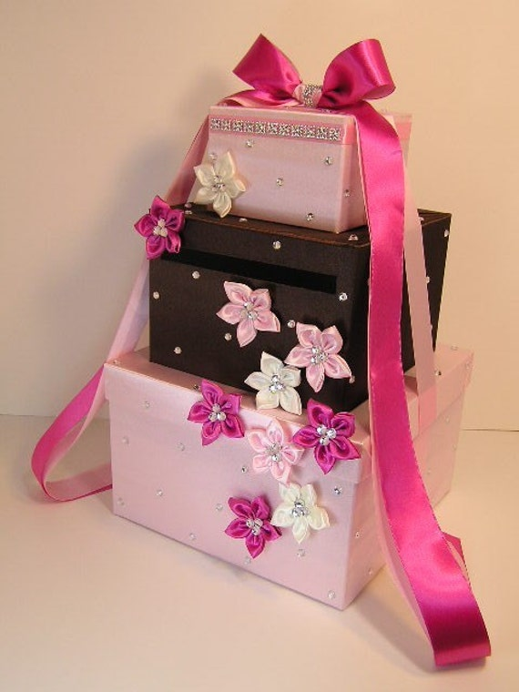Wedding Card Box Light Pink/Hot Pink and Chco Brown  Gift Card Box Money Box Holder--Customize your color