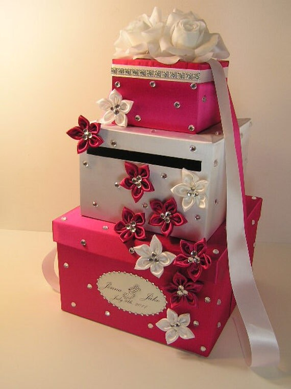 Do It Yourself Wedding Gift Card Box : Hot pink n White Wedding Card Box Gift Card Box Money Box Holder ...