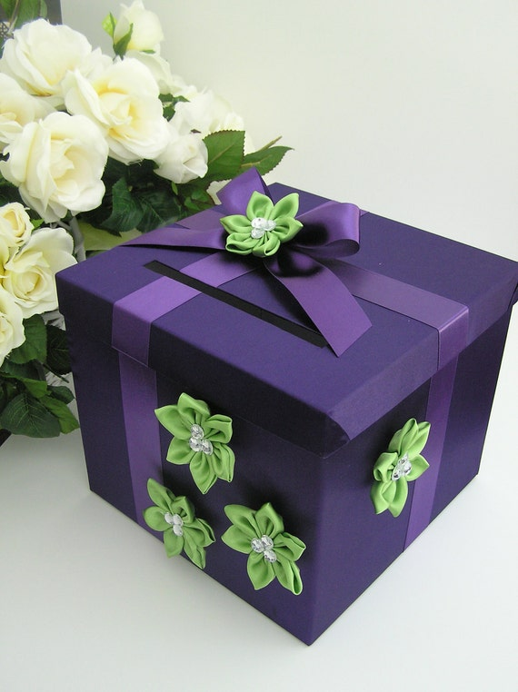 Wedding Gift Box Etsy : Wedding Card Box Purple and Lime Gift Card Box Money Box Holder ...