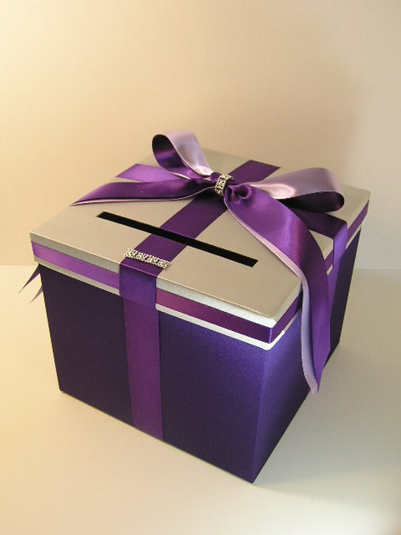 Wedding Gift Card Box : Purple,Silver and Lavender Wedding Card Box Gift Card Box Money Box ...