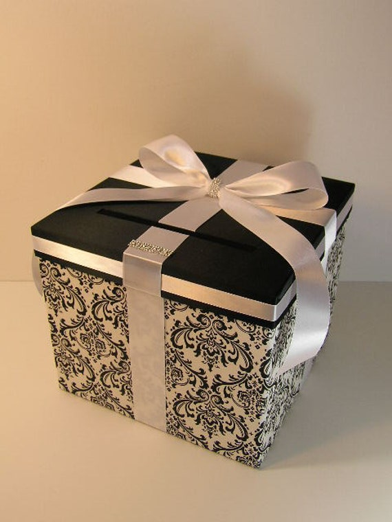 Black And White Wedding Gift Card Box : Damask and White (Black) Wedding Card Box Gift Card Box Money Box ...
