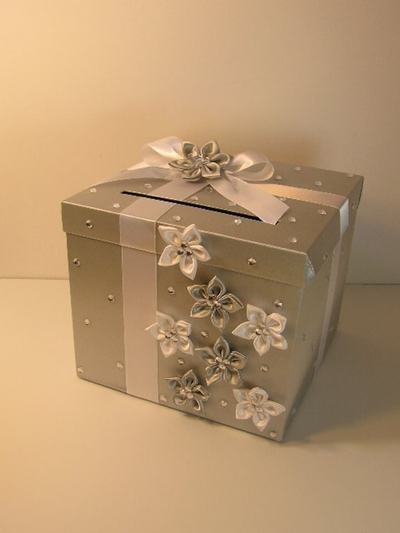 Silver and White Wedding Card Box Gift Card Box Money Box Holder ...