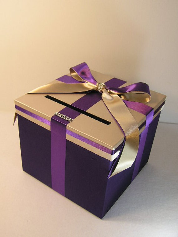 Wedding Money Box Silver And Purple Card Box Gift By
