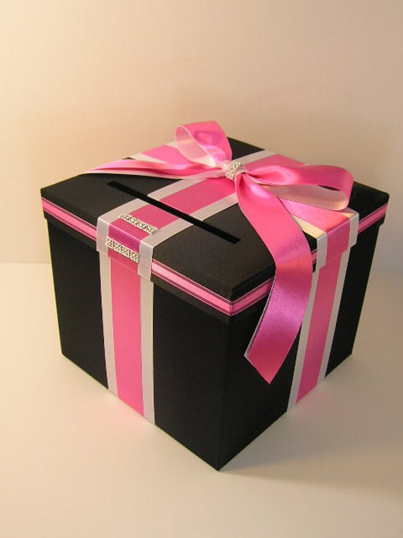 Black and Hot pink Wedding Card Box Gift Card Box Money Box Holder--Customize your color (10x10x9)
