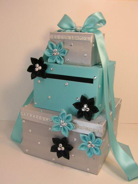 Wedding Card Box Blue And Silver Gift Card Box Money Box
