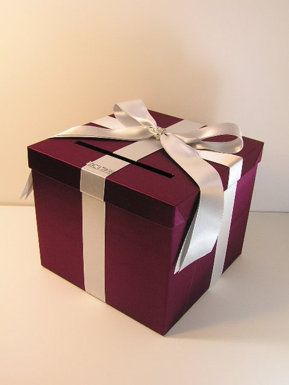 Wedding Gift Card Box Uk : Burgundy and Silver Wedding Card Box Gift Card Box Money Box Holder ...