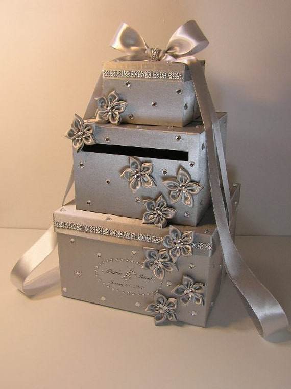 Wedding Gift Box Suggestions : Wedding Card Box Silver Gift Card Box Money Box Holder-Customize your ...