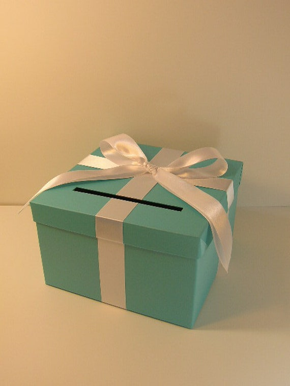 Wedding Gift Box Tiffany Blue : Tiffany Blue Wedding Card Box Gift Card Box Money Box Holder-Customize ...