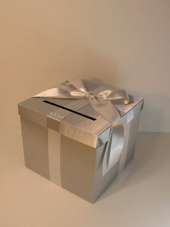 Wedding Gift Envelope Box Suggestions : Silver Wedding Card Box Gift Card Box Money Box Holder--Customize in ...