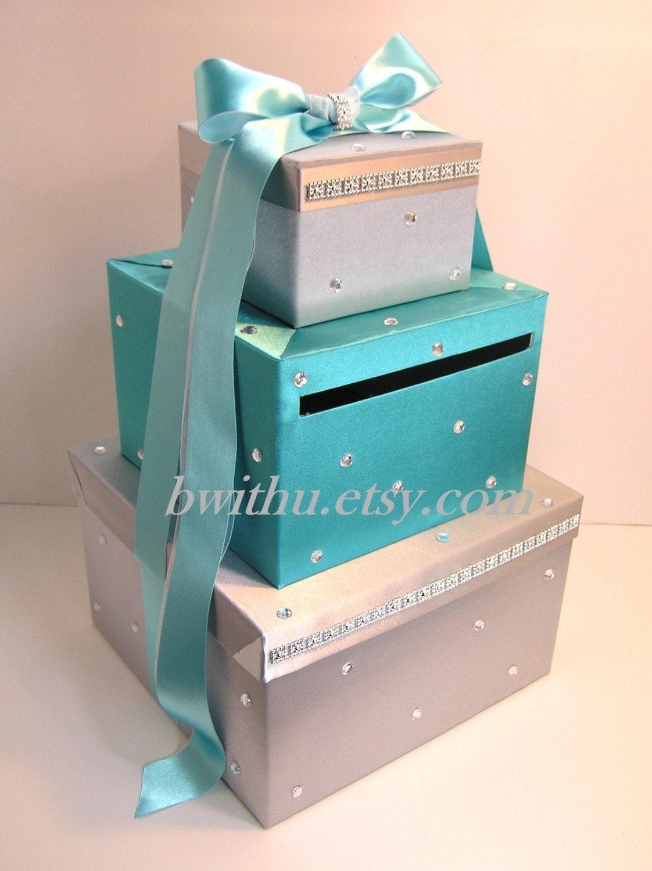 Wedding Gift Card Money Box : Wedding Card Box Silver &Turquoise Gift Card Box Money Box