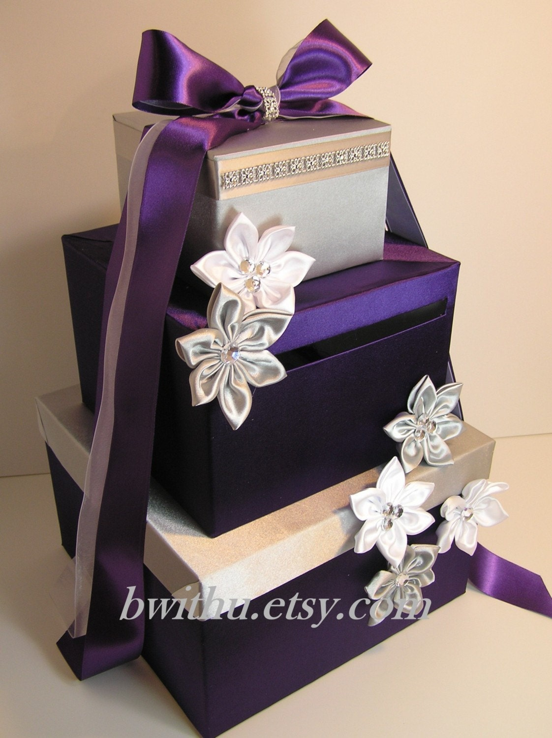 Wedding Reception Gift: Wedding Card Box Purple And Silver Gift Card Box Money Box