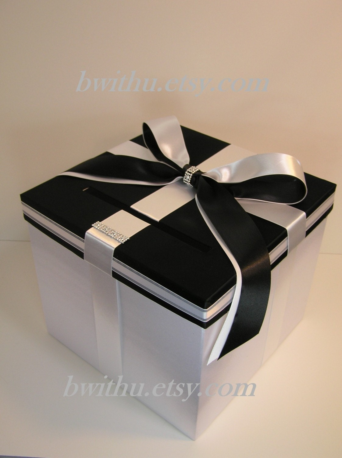 Black And White Wedding Gift Card Box : Wedding Card Box Black and White Gift Card Box Money Box