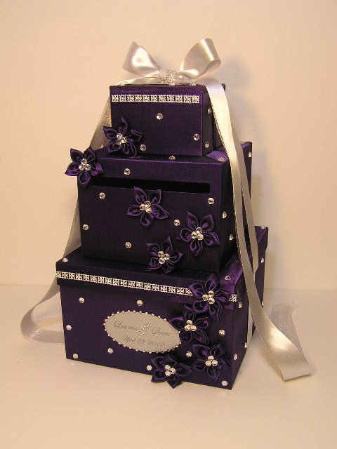 Wedding Card Box Purple and Silver Gift Card Box Money Card