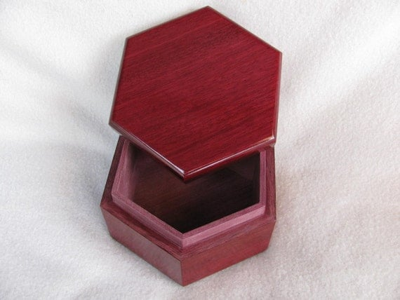 Exotic Wood Purple Heart Jewelry Box, Treasure Box