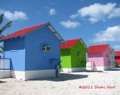 BAHAMA BEACH CABANAS- Fine Art Photo Print 5x7- colorful, fun, cabanas, by the sea, blue, green, pink, aqua, red