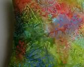 Tropical Leaves, Flowers Batik Handprint Coastal Decor Handmade Pillow