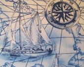 Full Sails Underway Nautical Handmade Pillow Faux Down