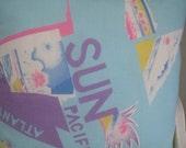 Beachy Blue Coastal Colors Tropical Decor Handmade Pillow Vintage 80's Print Faux Down