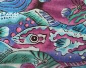 Fish Frenzy Sea  Blue Green Handmade Nautical Pillow